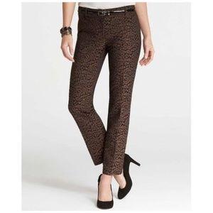 ANN TAYLOR Fierce Leopard Jacquard Ankle Pant sz 0